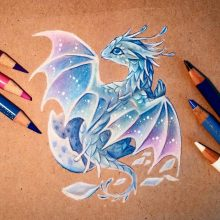 Рисунки цветными карандашами драконы (34 фото)