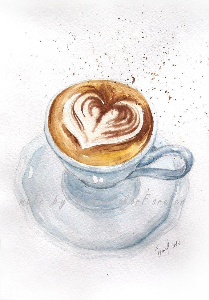 Картинки с чашкой кофе карандашом