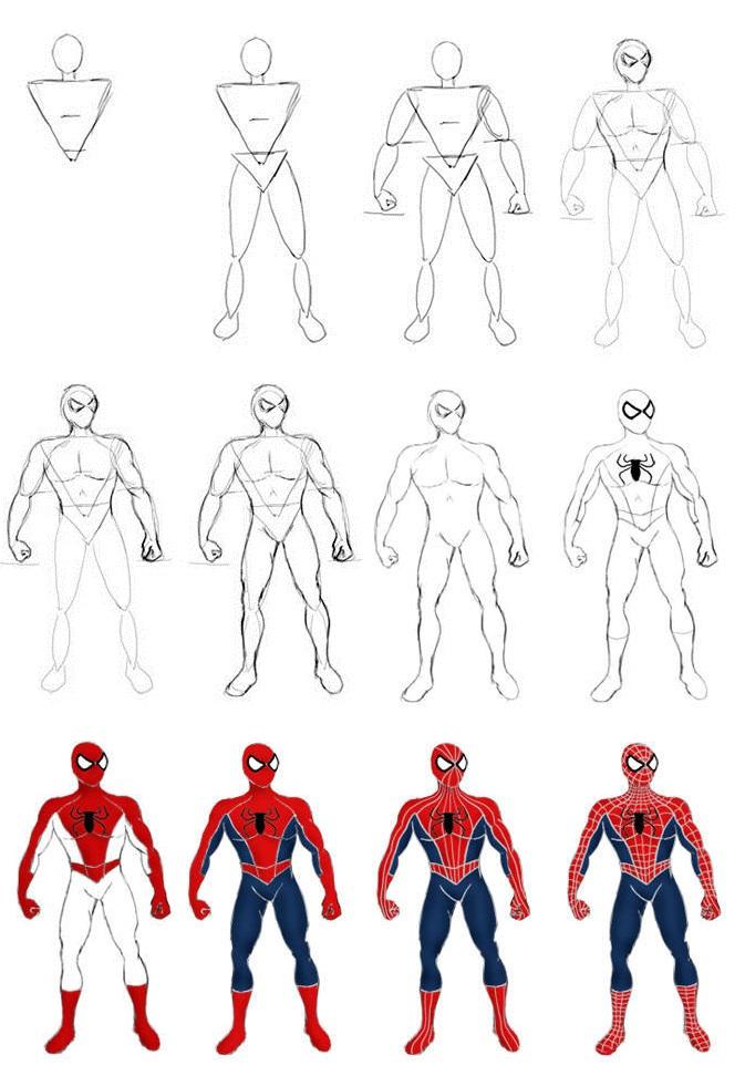 это картинки супергерои карандашом поэтапно могут быть нескольких