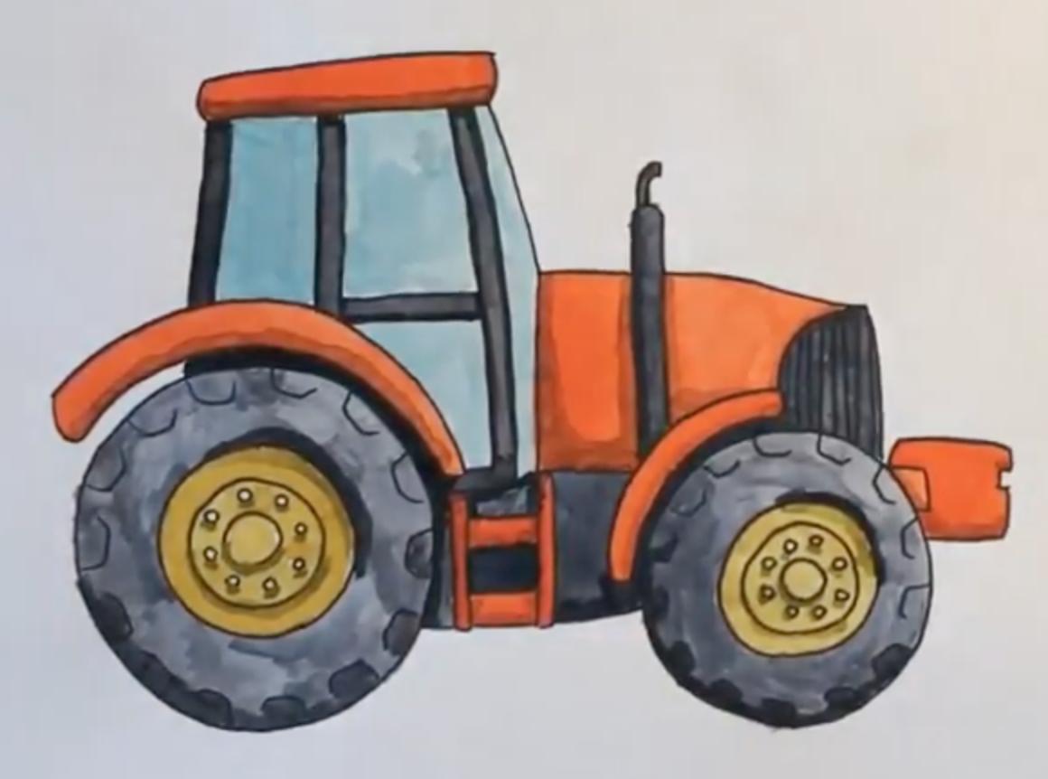 Картинка нарисованного трактора
