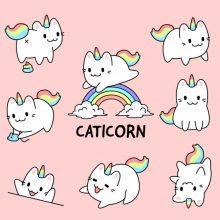 Рисунки для срисовки котики единороги (24 фото)