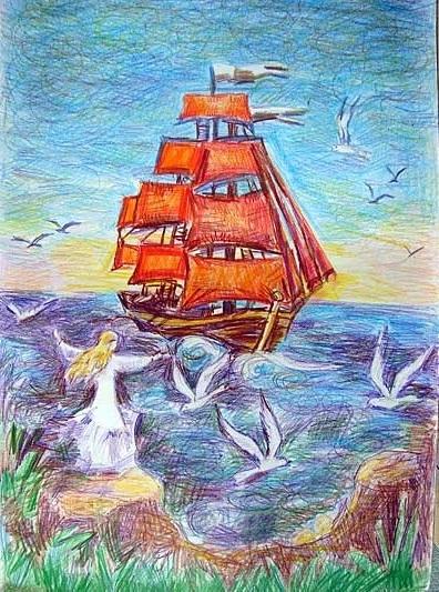 Картинка ассоль алые паруса для срисовки