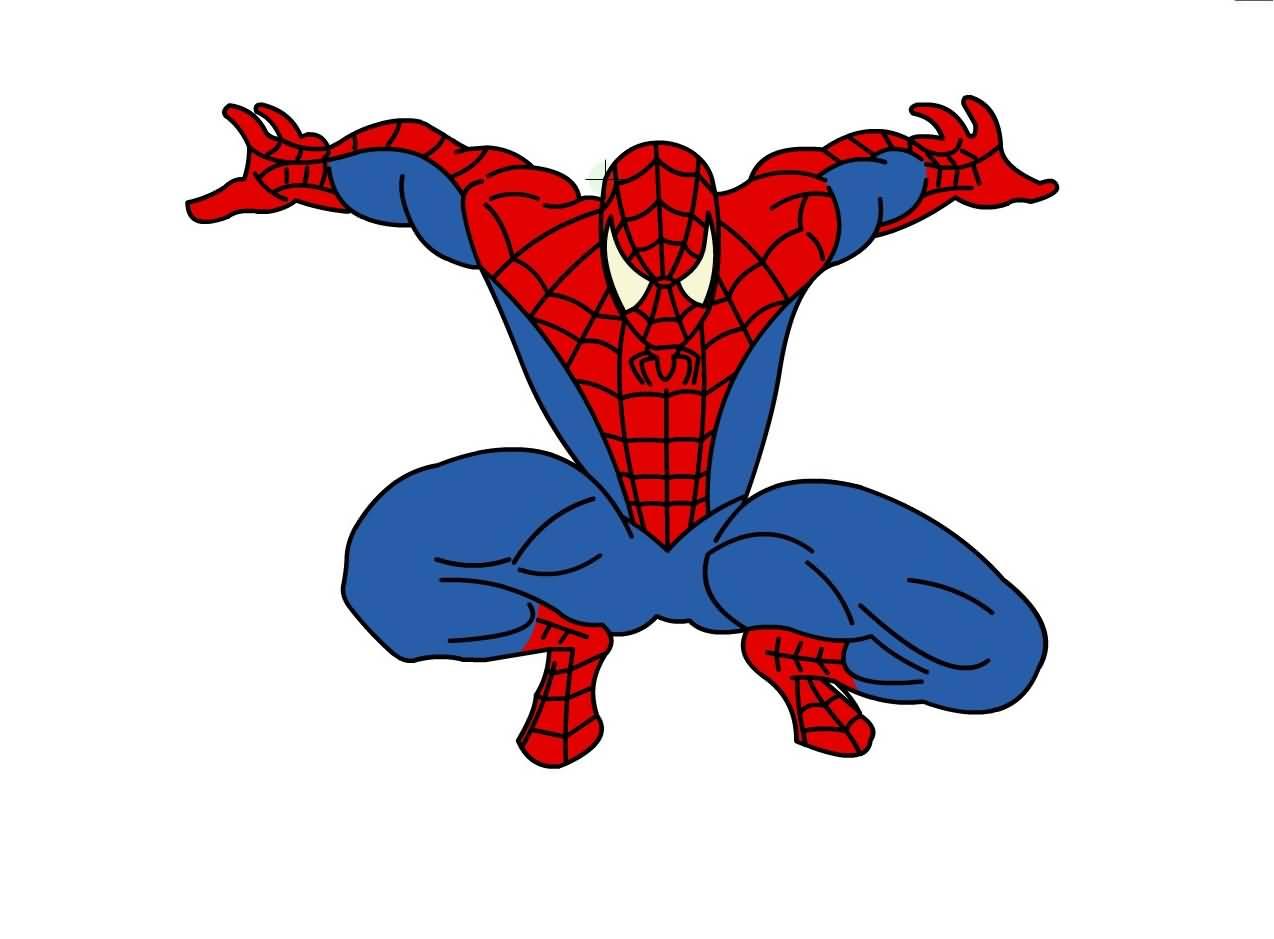 Рисование картинки человек паук