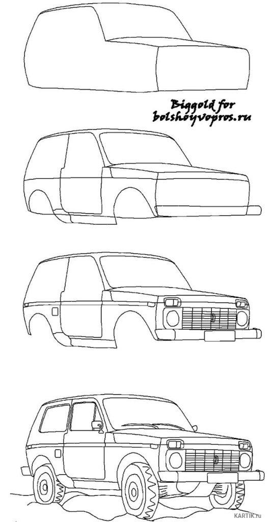 Рисунки для срисовки машинки для детей (33 фото ...