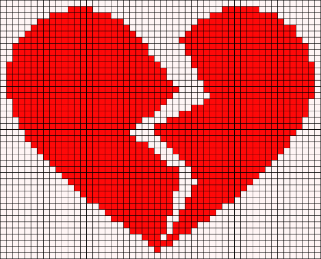 Картинки сердечка по клеточкам
