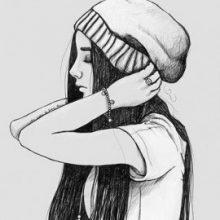 Рисунки карандашом девушки в шапке (15 фото)
