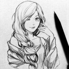 Прикольные рисунки карандашом аниме (26 фото)