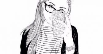 Рисунки для срисовки девушки с айфоном (16 фото)