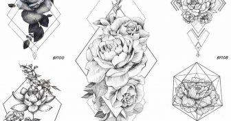 Рисунки для срисовки цветы в треугольнике (15 фото)