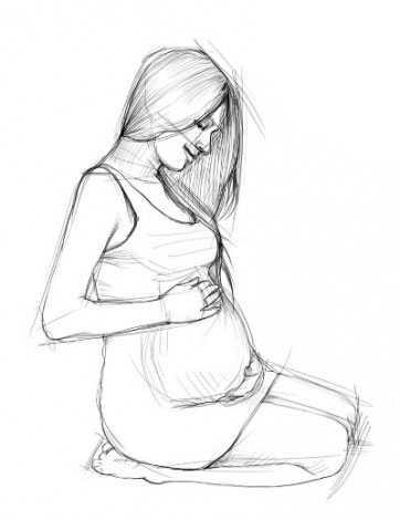 Картинки карандашом для срисовки беременные