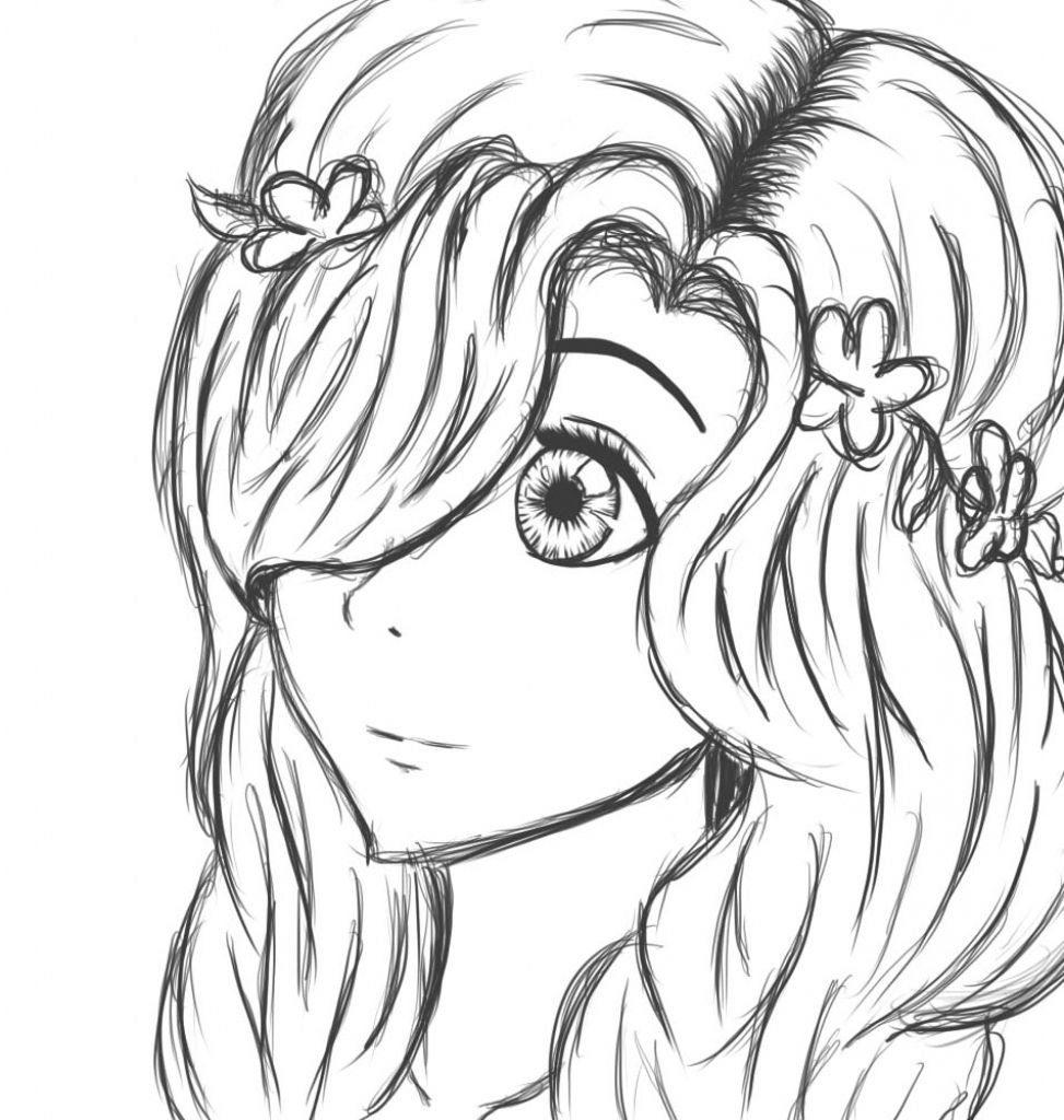 Рисунок девочка карандашом для срисовки