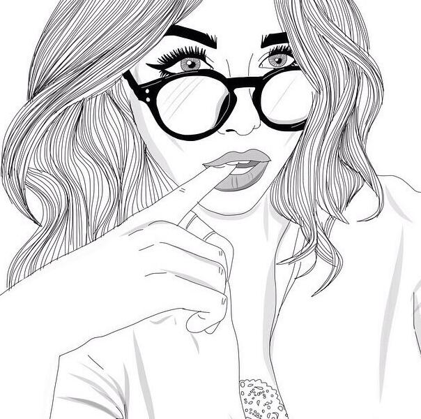 Девушка черно-белая картинка рисовать