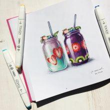 Рисунки для срисовки в скетчбук еда (24 фото)