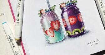 Рисунки для срисовки в скетчбук еда (54 фото)