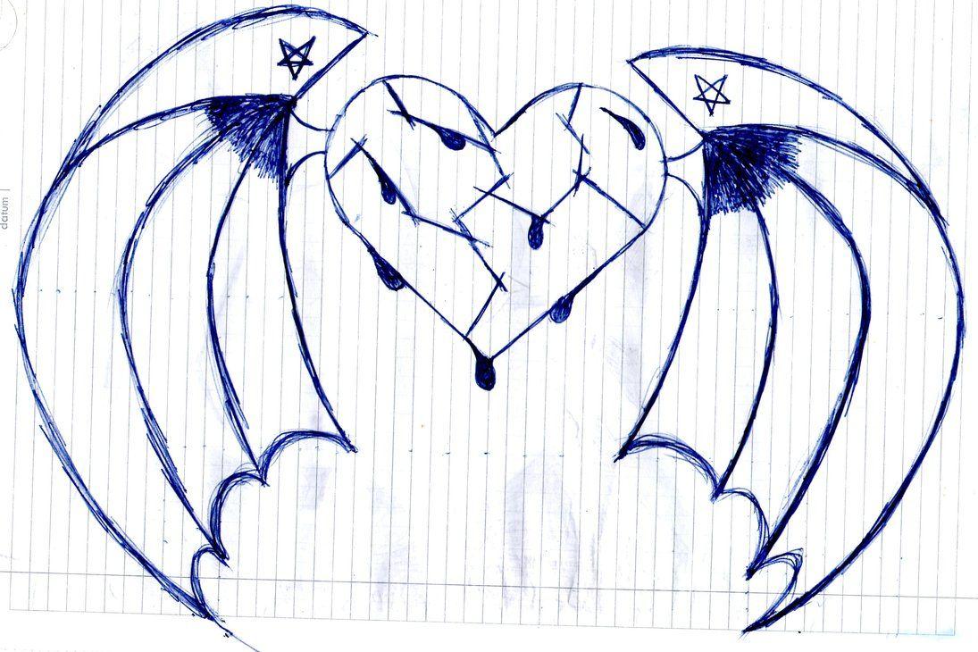 картинки как нарисовать сердце с крыльями красивые если