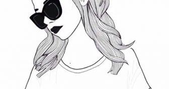 Черно-белые рисунки для срисовки девушки (63 фото)