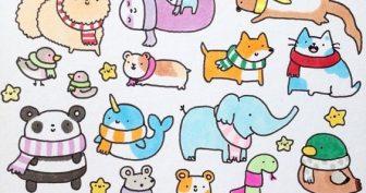 Рисунки для срисовки в скетчбук животные (27 фото)