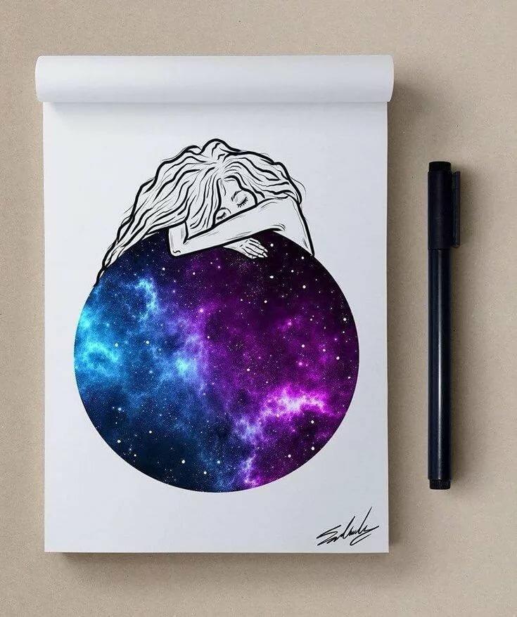 Маленькие картинки космос для срисовки