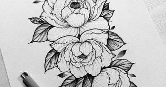 Рисунки для срисовки в скетчбук цветы (23 фото)