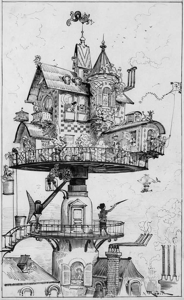летающий дом рисунок карандашом сделать это максимально