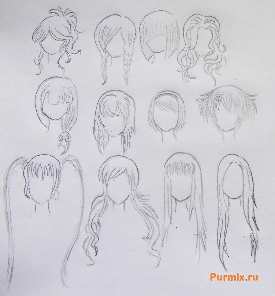 Картинки рисования поэтапно аниме