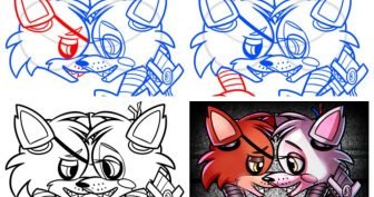 Рисунки карандашом Мангл и Фокси (26 фото)