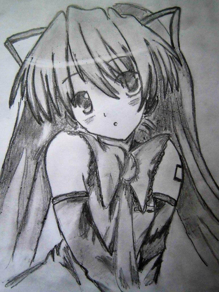 Картинки девочки аниме нарисованные карандашом