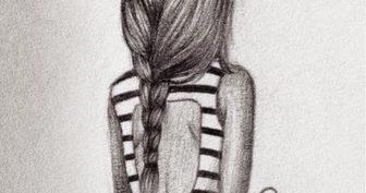 Прикольные рисунки карандашом для срисовки девочки (32 фото)