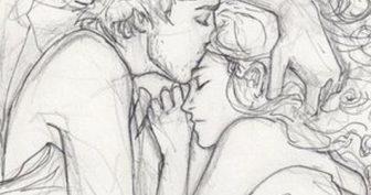 Рисунки для срисовки парень и девушка (25 фото)