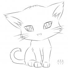 Няшные картинки котиков для срисовки (33 фото)