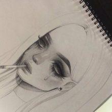 Рисунки карандашом плачущая девочка (15 фото)