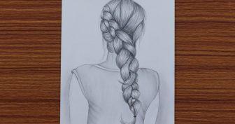 Рисунки карандашом для срисовки девушки со спины (33 фото)