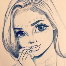 Рисунки девушек карандашом для начинающих (32 фото)