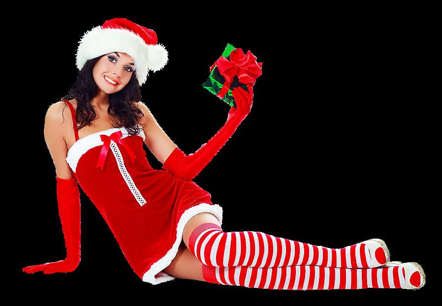снегурочка в полосатых чулках держит подарок в руке