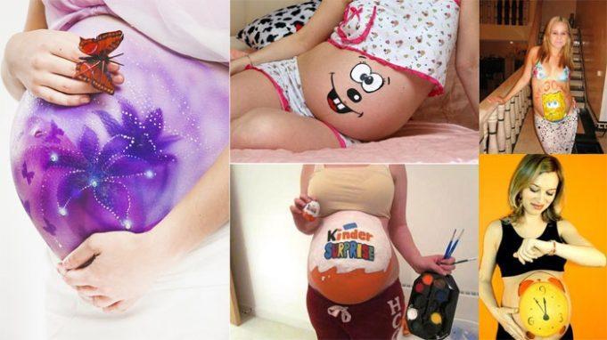 Фото идеи рисунков на животе беременной