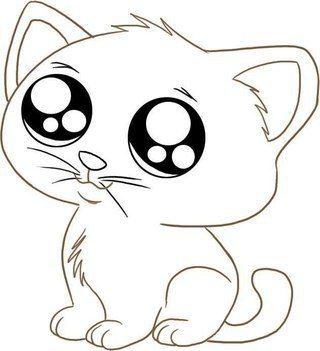 Котик рисунок карандашом для срисовки