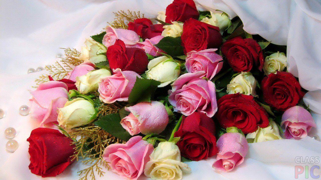 Открытка с розами букет 371