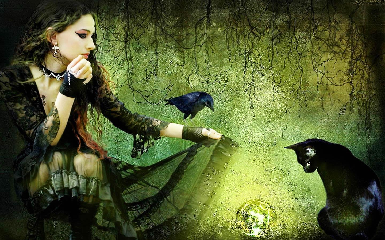 Картинка ведьма с котом