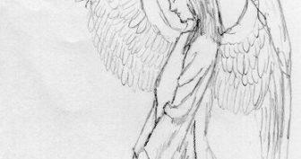 Рисунки карандашом ангелов с крыльями (26 фото)