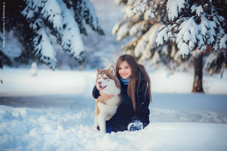 Картинка девушка с собакой