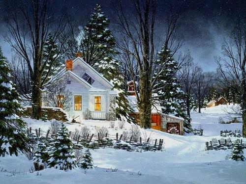 Снег лес зима