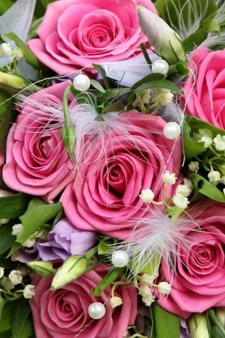 Цветы розы букет разноцветные